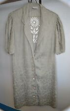 VTG LA PERLA Italian Floral Embroidered Khaki House Coat Robe Cover Up Size 6 42