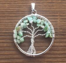 NATURAL CHRYSOPRASE TREE OF LIFE  WIRE WRAPPED PENDANT STONE GEMSTONE