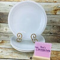 Matceramica ETHIC WHITE Embossed Strip Laurel Portugal Dinner Plates Set Four