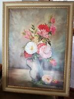 Vintage Antique Framed Hand Painted Floral Oil Painting 32x24