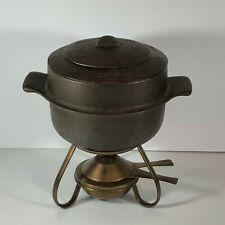 Vintage 4 piece Cast Iron Fondue Set Pot with Stand
