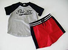 Ralph Lauren Baby Boys Baseball Tee & Shorts Set Light Gray Heat Sz 12M - NWT