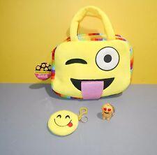 Emoji Face Expression Cartoon Soft Plush Handbag Toy Zippered Tote Tongue Out