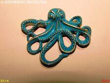 steampunk brooch badge octopus aqua teal turquoise kraken pirate black sails