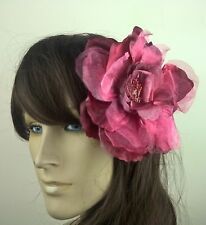 dark red maroon large satin flower hair clip headpiece fascinator beach wedding