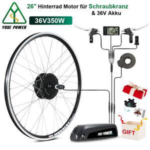 """E-Bike Conversion Kit 36V 350W 26"""" Heckmotor Schraubkranz+36V 12,5Ah Li-ion Akku"""