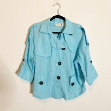 Womens NWT Chico's $99 Turquoise Blue Linen Short Trench Jacket Size XL 16