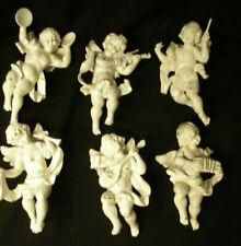 Vintage Set Lot 6 Angel Putti Cherub Figurines - Plastic Shabby Chic Musicians