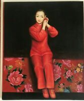 Vintage Oil Painting Unsigned Young Chinese Bride Traditional Red Garments