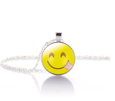 Cheeky Emoji Crystal Glass Pendant Necklace Jewelry Gift Bag- Silver
