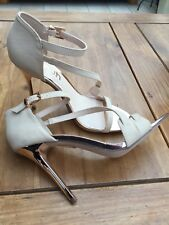 SCHUH LADIES BEIGE High Gold Heeled Ankle Strap Sandals With Gold Buckle 39/6