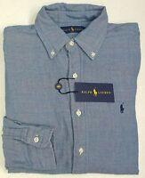 NWT $125 Polo Ralph Lauren Shirt Mens Blue w/ Red Plaid Lining Button Down NEW