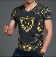Men's V Neck Short Sleeve Tee Shirt Slim Fit Gold Geometric Angel Casual T-Shirt