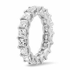 4.27CT 18K White Gold Princess Cut Natural Diamond Eternity Band Engagement Ring