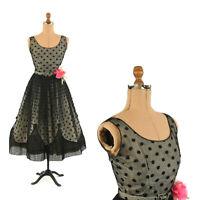 Vintage 50s Bonwit Teller Sheer Black Floral Chiffon Scalloped Prom Party Dress