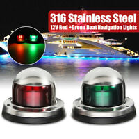 2x Stainless Steel Pontoon Marine Boat Yacht Bulb 12V 8LED Bow Navigation Light