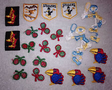 21 Small Applique Lot for Dolls Babies Boys Steelers Cowboy Boots Tennis Skiing