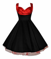 Ladies 1950's Vintage Black Red Draped Neck Netted Party Cocktail Dress New