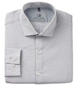 Mens Dress Shirt Geoffrey Beene Slim fit Cotton Rich Easycare Long Sleeve Fancy