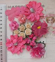 RASPBERRY CYCLAMEN & IVORY 7 Styles 18 Paper & Silk Flowers 15-55mm across VC1
