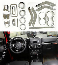 For Jeep Wrangler 4 Door 11-17 Chrome Interior Accessories Decoration Cover 18PC