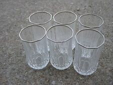 6 pcs Drinking Glasses Crystal Glass silver toned rims