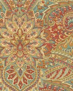 Waverly SWEPT AWAY Paisley BERRY Red Multipurpose Drapery Upholstery Fabric BTY