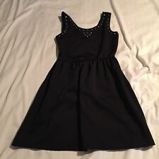 Poof Couture Dress Junior's L Sleeveless LBD Above Knee Black Studded Front