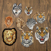 Wildlife Lion Tiger Patch Embroidered Applique Craft Leopard Wolf DIY Sewing