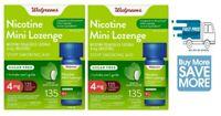 2 X Walgreens Nicotine Mini Lozenge 4 mg 135 Count Mint Compare to Nicorette