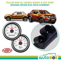 Pillar Pod w/ White Diesel Boost Ext Temp for Navara NP300 D23 2015-on