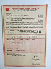 Scripophily Share Certificate Bond Autographs 1982 Gwalior Rayon Mp Textile Mill