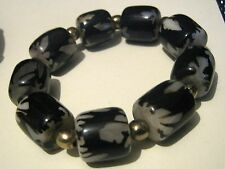 Super stylish elasticated black and grey beaded bracelet chunky fun