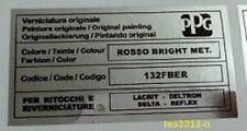 Fiat punto gt adesivo colore ppg rosso bright met. 132fber