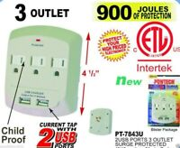 3 Outlet Surge Protector Wall Tap W / 2 Ports Child Proof - 900 Joules