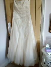 Benjamin Roberts Pale Gold Beaded Wedding Dress Size 16 Fits Size 12/14