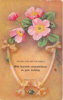 Birthday Congratulations 1908 Postcard Wild Rose & Emerald Nashport Ohio Cancel