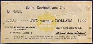 VINTAGE **SEARS, ROEBUCK & CO.** {FIRST NATIONAL BANK} CHICAGO $2.00 BANK CHECK!
