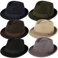 Elegant 100% Wool Trilby Hat Waterproof & Crushable Handmade in Italy