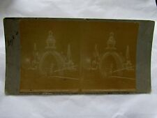 STEREO CARD PHOTOGRAPH DUKES VISIT QUEENS ARCH BY NIGHT  MELBOURNE