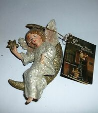 Bethany Lowe Victorian Glitter Angel on Moon Holding Star Christmas Ornament NWT