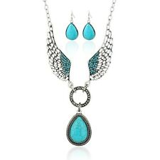 Fashion Crystal Wing Chain Pendant Women Long Necklace Set Earrings Jewelry