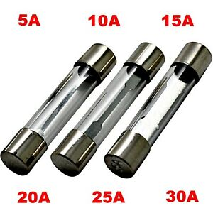 1x 10x - Feinsicherung 5A - 30A - Glassicherung 6 x 30 mm Sicherungen Fuse US GS