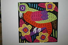 Kuna Mola Collectible Hand sewn Panel Stretched Matted color Parrot Applique Art
