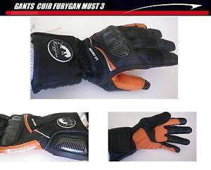 Leather Gloves FURYGAN Racing Carbon Size XXXL Glove Black Orange