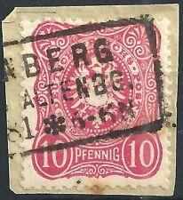 """""""PFENNIG"""" MiNr. 41ab mit Prüfzeichen """"ab"""" und Kastenstempel auf Briefstück"""