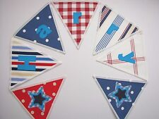 Cath Kidston Red Spot Fabric Personalised Bunting Blue Boat /lettered Flag