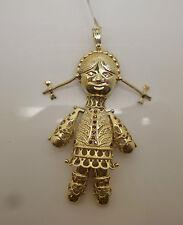 Oro 9 Carati su Argento di grandi mobili FEMMINA bambola pendente con Gemme Sintetiche