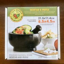 "Casa Maria Mortar and Pestle Molcajete 8.5"" Large Natural Stone Mexican Bowl"