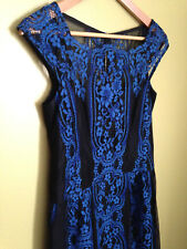 NWT Nanette Lepore Blue Black Lace Picasso Moon Dress 2 $448 Made in NYC